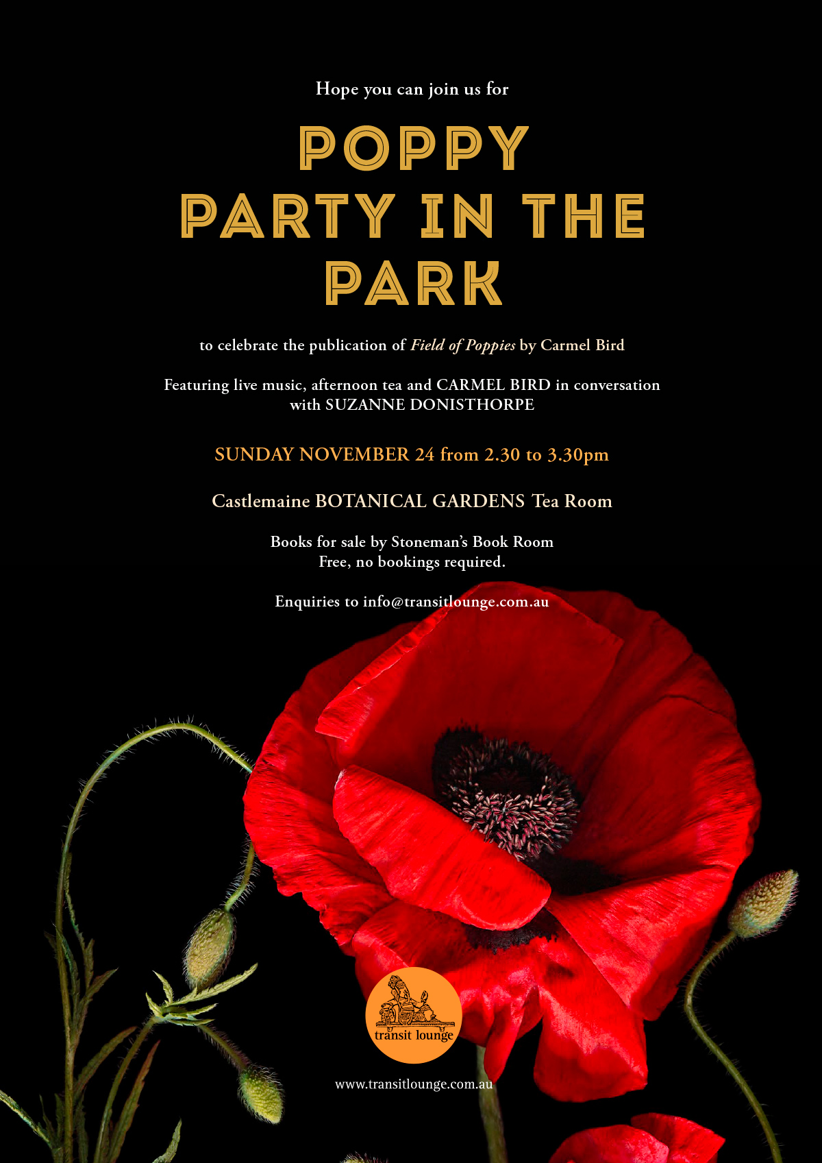 Poppy Party in the Park to celebrate publication of Carmel Bird's Field of Poppies