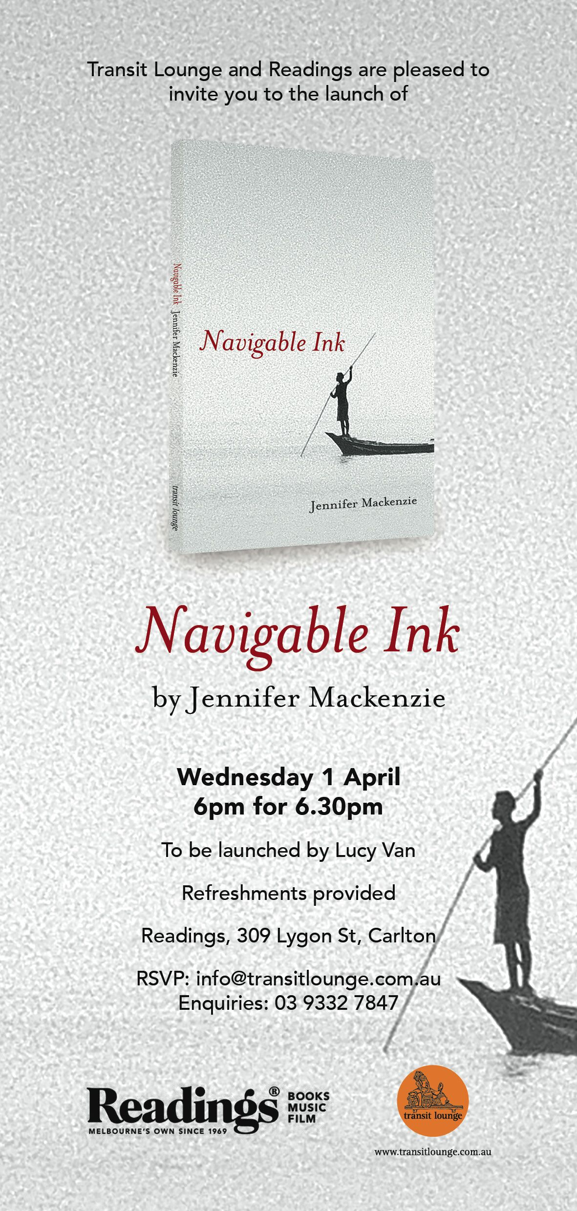 Launch of Navigable Ink by Jennifer Mackenzie POSTPONED  for now